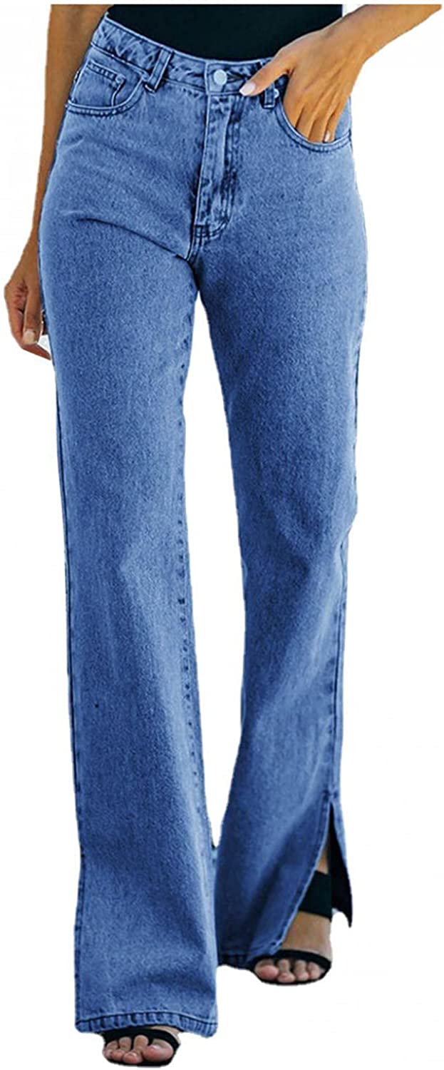 Fashion Womens Boyfriend Jeans High Waisted Butt Lifting Slim Fit Denim Pants Stretch Casual Wide Leg Jeans Trousers