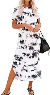 Women's Short Sleeve Split Maxi Dress Casual Plain Tie...