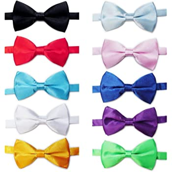 Elegant Pre-tied Bow ties Formal Tuxedo Bowtie Set with Adjustable Neck Band,Gift Idea For Men And Boys(5/8/10Pcs)
