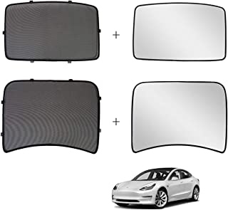 Jaronx for Tesla Model 3 Glass Roof Sunshade,Overhead Roof Sunshade Rear Window Sunshade+ UV/Heat Insulation Film (Set of 4 Pieces),Sunroof UV Rays Protection Window Shade