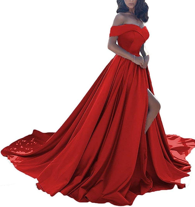 XingMeng Off Shoulder Satin Long Prom Dress High Split Evening Party Dress