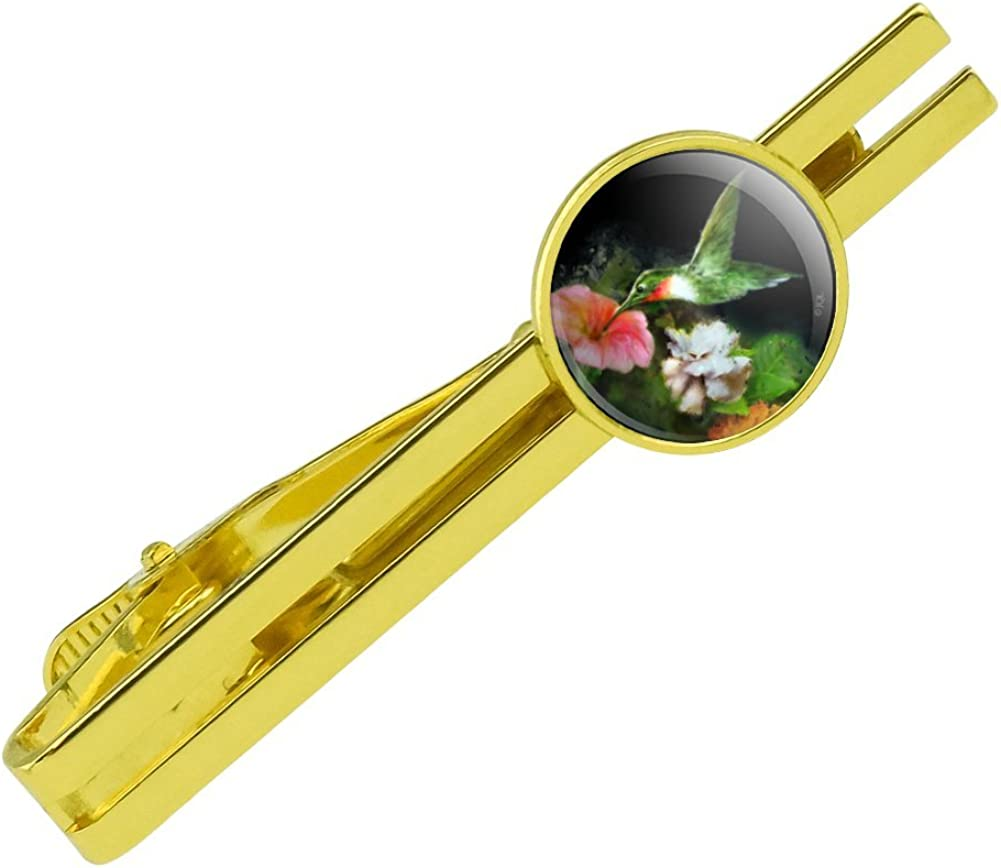 GRAPHICS & MORE Ruby's Hummingbird Flower Garden Round Tie Bar Clip Clasp Tack Gold Color Plated