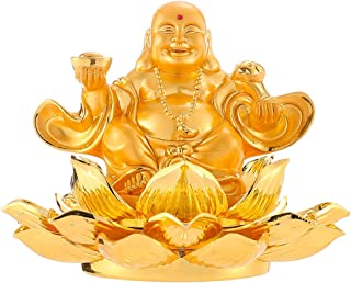 Feng Shui Golden Eight Treasure Lotus Laughing Buddha Aromatherapy Car Ornaments Maitreya Home Office Decoration Bless Safety and Wealth for Gift