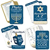 Big Dot of Happiness Happy Hanukkah - 4 Chanukah Holiday Party Games - 10 Cards Each - Hanukkah A-Z, Photo Scavenger Hunt, This or That and Alphabet Code - Gamerific Bundle