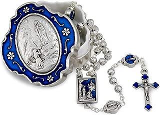 Lourdes Metal Rosary Set wtih Rosebud Beads