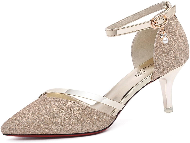 Lady,Summer,Middle Heel Sandals Fashion,Prong High Heels Thin Heels,Tip Binding Sandals