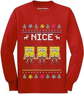 Spongebob Nice List Funny Holiday Ugly Christmas Youth Kids Long Sleeve T-Shirt
