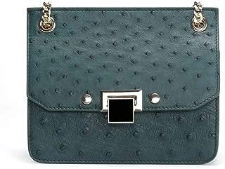 Luxurious South Africa Green Leather Handbag Messenger Bag Fashion Wild Shoulder Bag Ms. Chain Bag 19 * 9 * 15.5cm (Color : Green)
