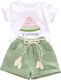 Toddler Baby Girls Summer Outfits Little Kid Watermelon Letter Print Top Shorts Clothes Set