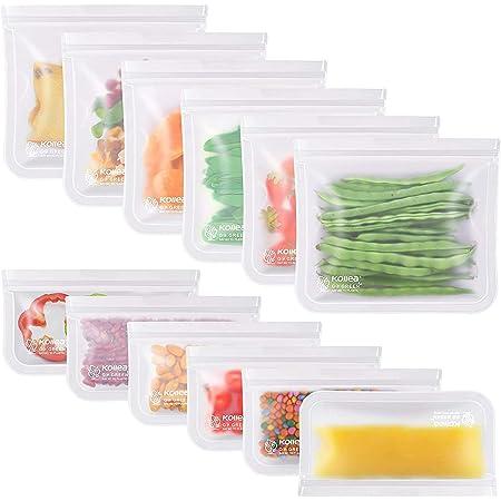 Kollea Lot de 12 Sac Congelation Reutilisable, 6 Pcs Multifonction Sac Réutilisable PEVA pour Nourriture pour Légumes Fruits et Viande, Prévenir Les Fuites