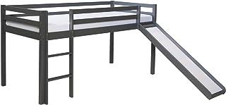 Homestyle4u 1862, lit d'enfant 90x200 Grey, lit de Grenier avec Toboggan, Bois de pin