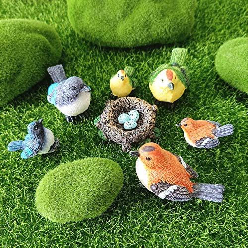 Fairy Garden Accessories,Bird Ornaments for Fairy Garden-HoneyShow Hand Painted DIY Miniature Garden Decor for Patio, Lawn, Micro Landscape, Yard Bonsai Decals and for Home Decoration