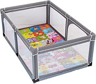 Playpens With Mat Gray Safety Game Fence Safety Crawling Mat Anti-fall Kids Playground Portable Folding