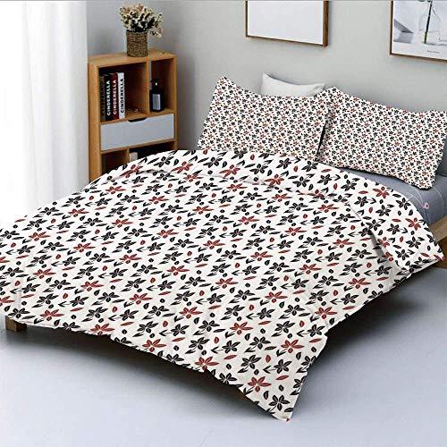 Juego de funda nórdica, flores rojas y negras, pétalos que caen, tema de la naturaleza, patrón artístico repetitivo, juego de cama decorativo de 3 piezas con 2 fundas de almohada, negro, rojo, blanco,