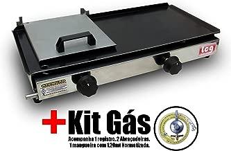 Chapa Para Lanche A Gás Sanduicheira 30x60cm Lcg + Kit Gás
