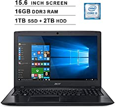 2019 Acer Aspire E5 15.6 Inch FHD Laptop (8th Gen Intel Core i3-8130U up to 3.4 GHz, 16GB RAM, 1TB SSD (Boot) + 2TB HDD, Intel HD Graphics 620, DVD, WiFi, Bluetooth, HDMI, Windows 10 Home)