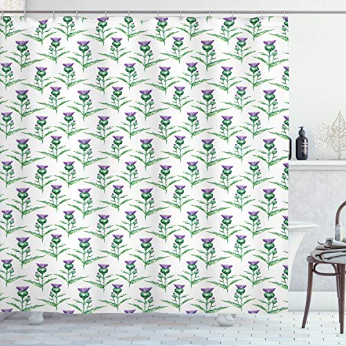 ABAKUHAUS Distel Duschvorhang, Botanische Druckpflanze, mit 12 Ringe Set Wasserdicht Stielvoll Modern Farbfest & Schimmel Resistent, 175x200 cm, Jadegrün Eierschalenfarben Lila