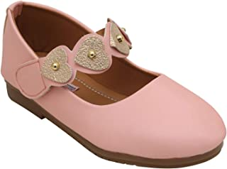 D'chica Blingy Hearts Strap Dainty Pink Ballerinas for Girls Ballet Flats