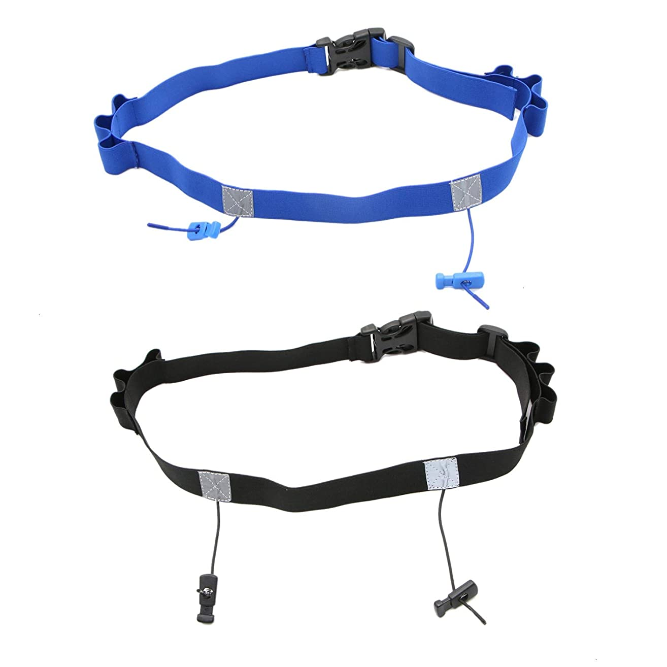 JETEHO 2 Pack Race Number Belt with 6 Gel Loops for Running, Cycling, Marathon, Triathlon