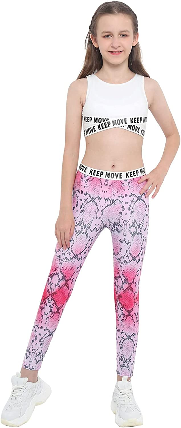 QinCiao Kids Girls Dance Outfit 2 Pieces Letters Print Crop Top with Athletic Leggings Tracksuit Activewear Pink Snake Print 16
