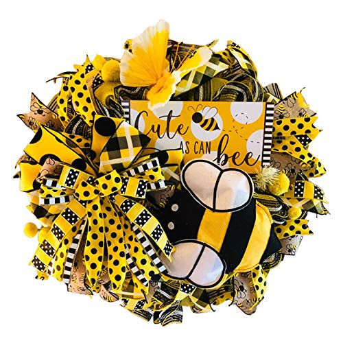 AC1 Simulation Leaf Bee Sunflower Wreath Artificial Garland Hanging Pendants Garden