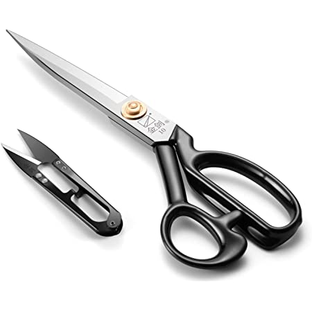 Dressmaking Scissors 10 inch (25.5cm) - Dressmakers Sewing Fabric Shears, Tailor's Scissors for Cutting Fabrics, Leather, Material, Clothes, Altering, Crafting(White, Right-Handed)