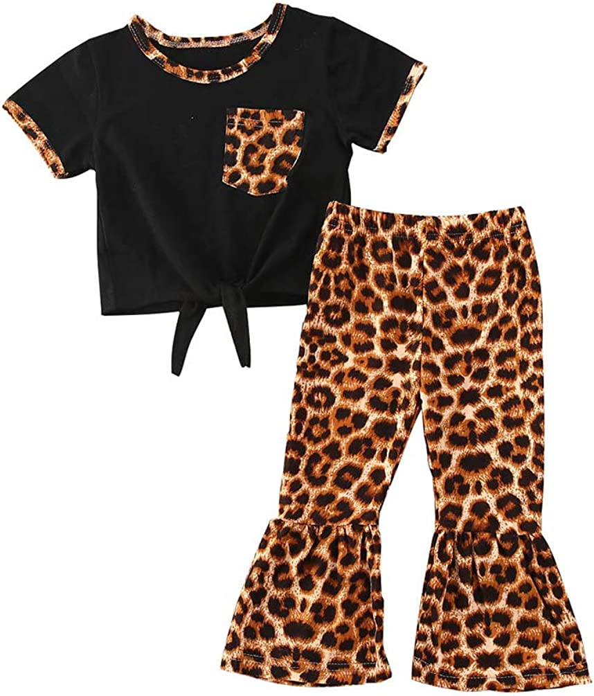 Same Spring new work day shipping Toddler Baby Girl Clothes Leopard Flare Short Sleeve Pants T Set
