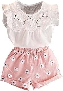 2 件套幼儿女童蕾丝 T 恤上衣小花短裤长裤公主夏季套装