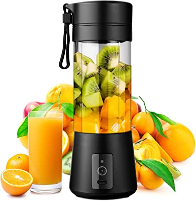 WATSMAR Portable Blender, Personal Size Blender for Smoothies, Juice and Shakes, Mini Blender with Powerful Motor 4000mAh Rechargeable Battery, Six Blades, for Home, Travel, Office (Black)