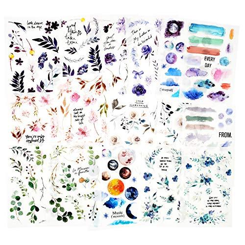 16 hojas Pegatina Frotar en transferencia Scrapbook Stickers Pegatinas de flores Etiqueta de la planta de decoración para Diary Album Journals Artes y manualidades de bricolaje (Valley)