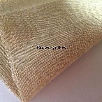 Tela de algodón de cáñamo, tela de lino y arpillera, retro, para costura, tela, manualidades, decoración, color marrón y blanco, 50 cm x 50 cm: Amazon.es: Hogar