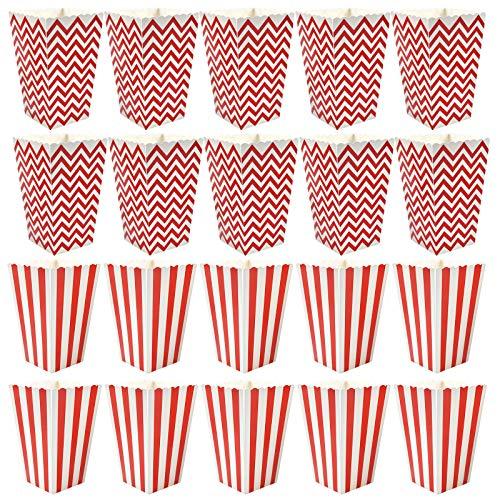 Cajas de Palomitas de Maíz 20 Piezas Cartones de Palomitas Pequeñas Retro Patrón de Rayas Rojas y Blancas Patrón Ondulado Decorativo Cartón Caramelo Ideales para Noches de Cine Fiestas de Carnaval