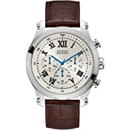 GUESS Men's Stainless Steel Quartz Watch with Leather Calfskin Strap, Brown, 22.2 (Model: U1105G3)