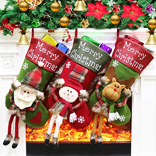 Dreampark Christmas Stockings, Big Xmas Stockings Decoration - 18' Santa Snowman Reindeer Stocking for Home Decor Set of 3