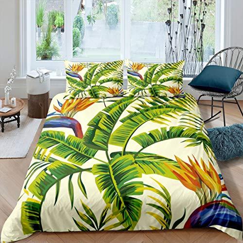 Erosebridal Tropical Comforter Cover Tree Duvet Cover for Kids Teens Green Plant Palm Leaves Bedding Set Jungle Botanical Leaf Quilt Bed Cover with 2 Pillow Shams for Bedroom Decor,King Size,Ivory