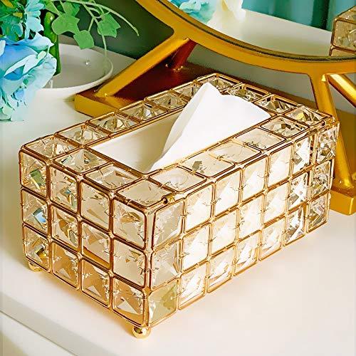 Yodensity - Contenitore per fazzoletti in vetro, colore: oro, argento, per ristorante, auto, casa, hotel (oro)
