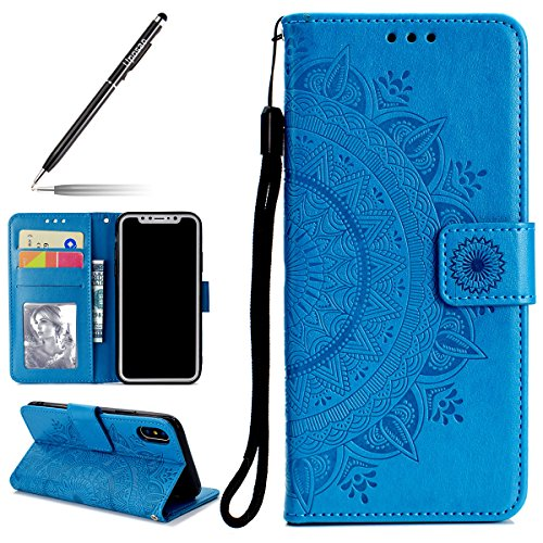Uposao Kompatibel mit iPhone XS Handy Schutzhülle Vintage Lederhülle Ledertasche Dünn Leder Handy Tasche Klapphülle Flip Cover Bookstyle Cover mit Standfunktion Karteneinschub,Blau