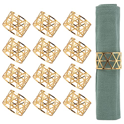 Luney 12PCS – Gold Napkin Rings, Napkin Ring Holders for Dining, Anniversary, Birthday, Christmas, Candlelight Dinner, Holiday, Party of Table Setting, Table Decoration
