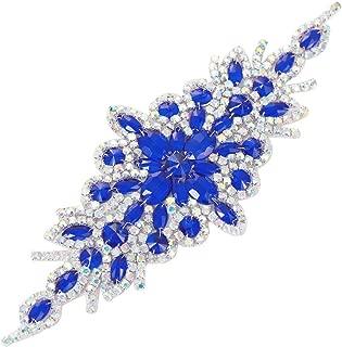 Blue Rhinestone Belt AB Crystal Sash Applique Bridal Wedding Dress Applique Sew Iron on Sparkly for Bridesmaid Gown Women Prom Formal Dress Clothes Embellishments