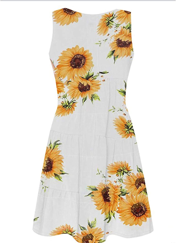 Ogiraw Women's Summer Mini Dresses Casual Sleeveless V Neck Button Down Boho Floral A Line Swing Short Dress