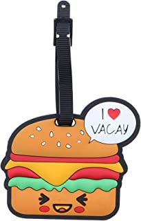 Fun Food Luggage Tags for Travel Suitcase ID Holder - Hamburger