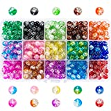Suhome 450pcs 15 Color 8mm Crackle Lampwork Glass Beads Assortment Including Round Handcrafted Loose Crackle...