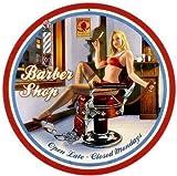 Barber Shop PinUp - Cartel redondo de acero (360 mm de diámetro)...
