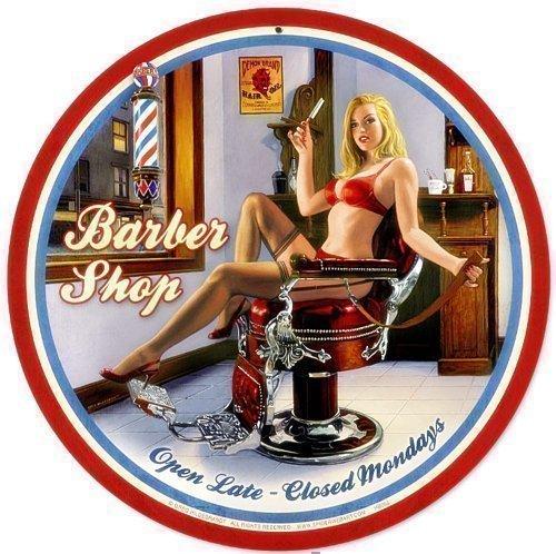 Barber Shop PinUp - Señal redonda de acero (360 mm de diámetro)