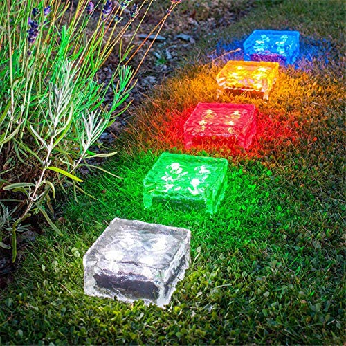 Buried Lights,solar Glass Brick Lights,solar Brick Lights Outdoor,glass Brick Paver Garden Light,outdoor Use,no Wires or Plugs-rechargeable Battery Included (White light)