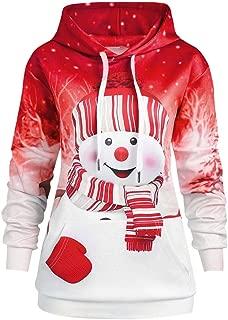 Women Hoodie Christmas Big Pocket Cartoon Snowman Print Sweatshirt Pullover Top Chsristmas Costumes