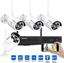 Rraycom Security Camera System Wireless,8CH 1080P NVR with 4Pcs 1080P 2.0MP Outdoor/Indoor WiFi Surveillance IP66 Weatherproof IP Cameras,65ft Night Vision, App Remote View, P2P,Plug Play,No HDD