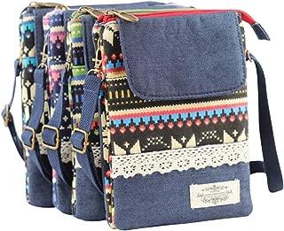 Wiwsi Women Ethnic Lace Phone Shoulder Wrist Handbag Bags Purse Coin Card Pouch