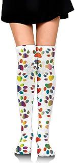 Las mujeres Mosaic Bunny imprime calcetines de tubo sobre la rodilla Muslo Medias altas para niñas 65cm / 25.6 pulgadas