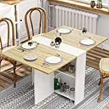 Folding Dinner Table with 6 Casters, Drop Leaf Dining Table with Storage Shelves, Folding Kitchen...